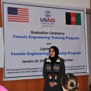 Engineer Leeda Raufi, one of the graduates thanks USAID for providing the training.