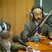 USAID Mission Director Dr. Ken Yamashita answers questions during a radio interview at Salam Watandar in Kabul