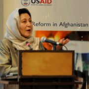 Minister of Women's Affairs Dr. Husn Bano Banu Ghazanfar speaks at the First National Conference on Women's Inheritance and Land