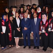 USAID/Egypt Mission Director Sherry F. Carlin with U.S.-Egypt Higher Education Initiative STEM scholarship recipients who recently graduated from universities in the United States.
