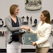 USAID/Egypt Mission Director Sherry F. Carlin and Minister of Investment and International Cooperation Dr. Sahar Nasr shake hands after signing bilateral assistance agreements worth $59 million.