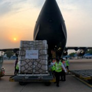 Unloading of the Second Shipment of USAID COVID-19 Supplies