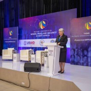 U.S. Ambassador to Ghana, Stephanie S. Sullivan emphasizes the importance of supporting women, peace and security initiatives in West Africa at the WPS  Regional Conference held at the Kofi Annan International Peacekeeping Training Center (KAIPTC) in Accra, Ghana.