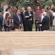 Chargé d'Affaires Thomas Goldberger of the US Embassy in Cairo tours the walking trails at Memphis during their inauguration