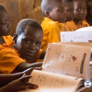 A primary one (first grade student) from a school implementing USAID's Education Activity in northern Ghana