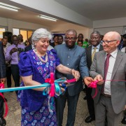 Ambassador Sullivan cutting the tape to open the Pathology Lab of the new cancer center at the HopeXchange Medical Center in Kumasi
