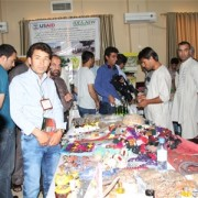 Thirty Afghan businesses displayed their products on an exhibition held in Mazar-i-Sharif .