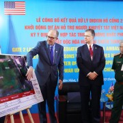 U.S. Ambassador to Vietnam Daniel J. Kritenbrink and Vietnam's Vice Minister of National Defense Senior Lieutenant General Nguyễn Chí Vịnh hear a briefing on the progress of the Dioxin Remediation at Bien Hoa Airbase Area project.