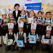 These books comprise 55 different story titles for primary grade students and are written in the Kyrgyz and Russian languages.