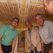 U.S. Embassy Chargé d'Affaires Thomas Goldberger, Minister of Antiquities Dr. Khaled El Anany, and Secretary General of the Supreme Council of Antiquities Dr. Mostafa Waziri visit a nobleman's tomb at Dra Abu El Naga that was conserved with USAID assistance.