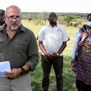 Acting Administrator John Barsa makes the Local Works announcement during his visit to the Maasai Mara Game Reserve.