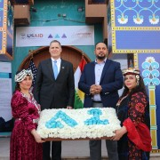 U.S. Ambassador Tueller stands with Mr. Kaldo Ramzi Oghna, Director of the Syriac Heritage Museum on Monday, June 21st, 2021.