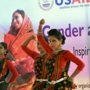 Photo of local girls' dance troupe in Rangpur, Bangladesh performing at gender and development fair.