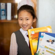These books include 45 new and adapted titles in Kyrgyz and Russian languages appropriate for primary grade students.