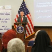 U.S. Ambassador P. Michael McKinley delivers his speech during the event.