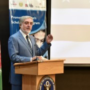H.E. Chief Executive Dr. Abdullah Abdullah delivers his remarks on the importance of implementing Promote scholarship program