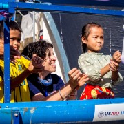 Ambassador Rena Bitter Participated in a Hand-washing Activity with Children Affected by the Recent Flash Floods in Attapeu