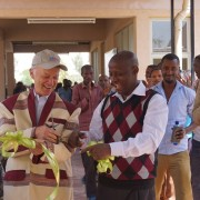 USAID Mission Director Dennis Weller and Mena Mekuria, the deputy head of the SNNP Regional Health Bureau cut the ribbon to offi