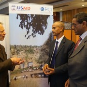 (L-R) USAID Ethiopia Mission Director Dennis Weller, PCI Country Representative Walleligne Alemaw, and Chief of Party Getu Woyes