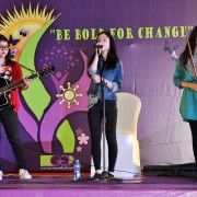 Women musical band performing at the event.