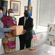 Handing over 124,000 doses of the Pfizer BioNTech COVID-19 vaccine donated by the United States government (from left): U.S. Embassy Chargé d'Affaires, Jess Long, Deputy Prime Minister and Minister of International Relations and Cooperation, Hon. Netumbo Nandi-Ndaitwah, and the Minister of Health and Social Services, Hon. Dr. Kalumbi Shangula.