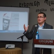 "Lithuanian expert speaks at the ""Tvapatum Investigation: Media Against Corruption"" media conference in Yerevan."