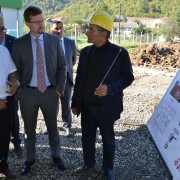 Deputy Chief of Mission learns about the construction of a honey processing facility in Lerik district.