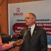 U.S. Chargé d'Affaires Andrew Haviland speaks at the USAID Electoral Violence Early Warning System launch in Abidjan