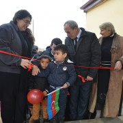 Children join the opening of the renovated kindergarten in Cholbeshadli, Sabirabad.