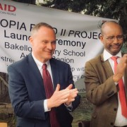 Image of US Ambassador Raynor and Minister of Education in Ethiopia