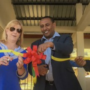 Image of ribbon-cutting ceremony at Ethiopian health center.
