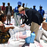 U.S. Ambassador inspects a USAID food distribution activity in drought-stricken south Madagascar.  USAID has announced three new programs to address food insecurity in the south and south east.