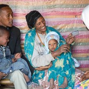 A health extension worker provides counseling on family planning contraceptives in a house in Gedeb Hsasa, Oromia Region.