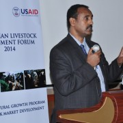 Ethiopia State Minister of Industry Dr. Mebratu Meles addresses the livestock forum in SNNP Region.