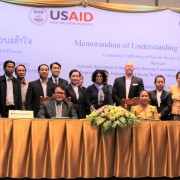 From center left to right: Mr. Vilayphong Sysomvang, Acting Director General of the Ministry of Labor and Social Welfare's Social Welfare Department, Mdm. Baykham Khattiya, Deputy Minister of Labor and Social Welfare, U.S. Ambassador to the Lao PDR Rena Bitter, and Dr. Xoukiet Panyanouvong, Chief of Party of the Laos CTIP program officially launched the Laos CTIP project.