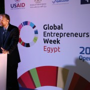 USAID/Egypt Economic Growth Director Brinton Bohling speaks to more than 150 Egyptian investors, analysts, and businesspeople on the opening day of Global Entrepreneurship Week in Cairo.