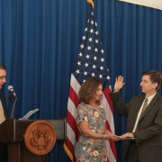 Dr. Andrew Sission being sworn in as mission director to Indonesia