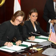 Mission Director Sherry F. Carlin and Minister of Investment and International Cooperation Saher Nasr signing the $100 million bilateral assistance agreement