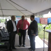 Officials discussing the recent Close Out of  the RRACC project in Antigua.