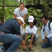 Grenadian student Heidi Stanisclaus (centre) is joined by RRACC Project Coordinator Lester Arnold