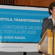 U.S. Ambassador to Ethiopia Patricia Haslach speaking at the opening ceremony of the national conference on fistula elimination.