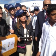 Minister of International Cooperation Dr. Sahar Nasr and USAID Mission Director Sherry F. Carlin deliver sewing machines.