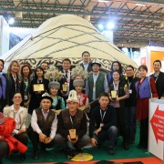 The Kyrgyz booth served boorsok and kymys to visitors as they enjoyed classic melodies from traditional komuz players.
