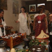 U.S. Deputy Chief of Mission Peter Vrooman appreciates a traditional Ethiopian coffee ceremony.