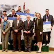 Winners of the Cairo Intel Science Fair will advance to the international competition in Los Angeles later this year. Here, they pose with Minister of Education Dr. Tarek Shawki and USAID/Egypt Mission Director Sherry F. Carlin.