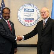 Deputy Administrator Donald Steinberg and Somali President Hassan Sheikh Mohamud