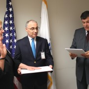 Woman swearing in as USAID/Albania new Country Representative.