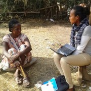 A field worker (right) is interviewing a woman as part of the training to conduct the EDHS.