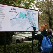 Street maps show key landmarks in the city of Osh to guide visitors who want to explore the city on foot.
