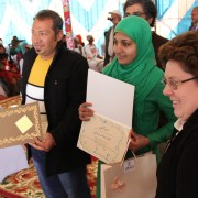 USAID Deputy Mission Director Dr. Anne E. Patterson gives certificates to entrepreneurship competition winners in Upper Egypt.